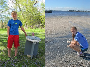 "Left: 12-year old Kevin Telfer from Boston, MA, with the prototype drifter buoy he and a fellow science partner Harrison Reiter built and field tested for their science fair project titled, ""Deployment of a Drifter Buoy in the Sudbury River: Prototype Design and Results."" (Photo by Brian Telfer) Right: High school sophomore Elizabeth Smithwick from Jacksonville, FL, collects soil samples along the St. Johns River for her science fair project titled, ""The Isolation, Examination, and Comparison of Hydrocarbon Degrading Bacteria in the St. Johns River."" (Photo provided by Elizabeth Smithwick)"