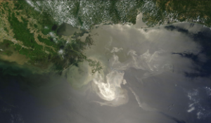 Satellite image of the Gulf of Mexico showing the spreading oil  sheen May 24, 2010. (Photo/NASA)
