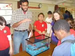 Deep-C Researcher Arvind Shanthram explains plankton's important place in the ocean food chain during a classroom visit. Photo Credit: Meredith Field