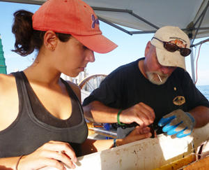 Susan and Dr. Steve Murawski collect bile samples from a king snake eel gallbladder. (Photo credit: Liz Herdter)