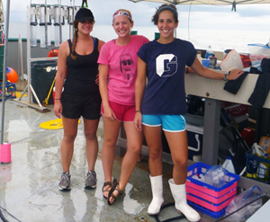 Susan Snyder, Kristina Deak, and Elizabeth Herdter prepare for a day of fishing and sampling. (Photo credit: Steve Murawski)