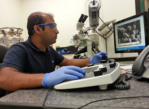 Amitesh Saha uses a Cryogenic Scanning Electron Microscope to investigate the distribution of particles on an oil drop surface in an emulsion. (Provided by Saha)