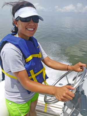 Maria Vozzo traveled each of the four Barataria Bay study sites – Hackberry Bay, Bay Jimmy, Grand Isle, and Grand Terre – during each field day. (Photo credit: Annette Hebert)