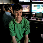 Richard Dannenberg on the R/V Falcor during an ROV dive to study Gulf coral beds. (Image credit: Schmidt Ocean Institute)