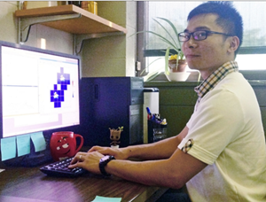 Bicheng at Pennsylvania State University works on the coding for simulations involving oil plumes. (Provided by Bicheng Chen)
