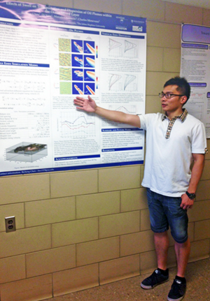 Bicheng displays a poster detailing his research at Pennsylvania State University. Bicheng and his advisor Dr. Marcelo Chamecki created this poster, which was presented at the 2015 Gulf of Mexico Oil Spill and Ecosystem Science Conference. (Provided by Bicheng Chen)