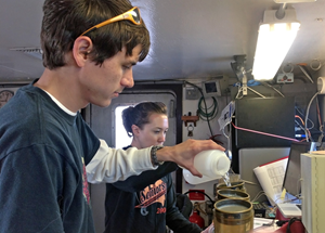 Jarrett separates nannoplankton from seawater samples. (Photo provided by Jarrett Cruz)