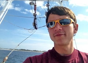 One of the things Jarrett most enjoyed about his biology and geology work is time at sea. (Photo provided by Jarrett Cruz)