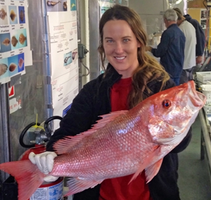 Ceil joined the annual NOAA Fish Survey cruise, identifying species like this red snapper. (Photo courtesy of Ceil Martinec)