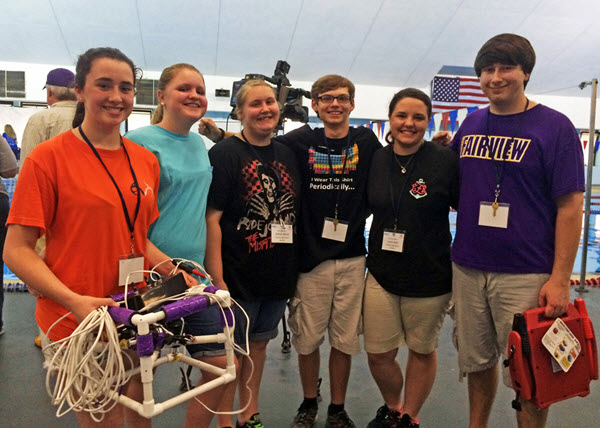 Fairview High School poses with their ROV after being interviewed by Mobile's WALA Fox 10 News. (Photo credit: Tracy Ippolito)