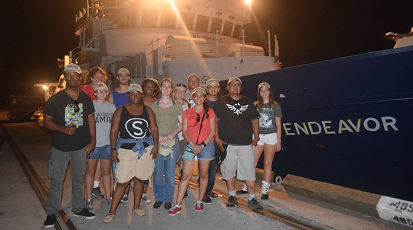 2016 STEM SEAS students in front of the R/V Endeavor, the night before they left on their transit. Welcome aboard! Photo courtesy of STEM SEAS.