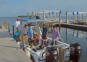 Shaojie (far right) sets off for a three-day research cruise in the Florida Keys with colleagues from the University of Massachusetts – Boston and Florida International University, March 2016. (Photo by Chuanmin Hu)