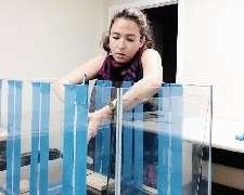 "Maya builds a ""baffled recirculation"" tank to investigate accommodated oil fractions. (Provided by Maya Morales-McDevitt)"