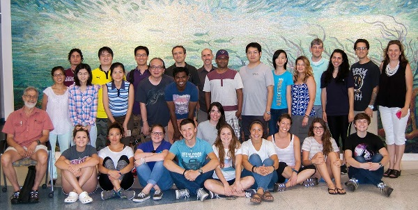 Maya and fellow ADDOMEx members on the last day of the mesocosm experiments held at Texas A&M University – Galveston in July 2016. (Provided by Maya Morales-McDevitt)