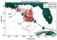 Hurricane Isaac from August 26 – 31, 2012 and GLAD drifter trajectories (thin black and red lines) during the same time period. More details about this image are available in the publication, Figure 1. Image provided by Shuyi S. Chen, Rosensteil School of Marine and Atmospheric Sciences, University of Miami.