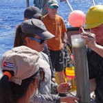 Marine geologist David Hollander (USF, right) instructs Cuban students on sediment core sampling techniques off northwest Cuba. Dr. Greg Brooks (Eckerd College, orange shirt) assists. Photo courtesy of C-IMAGE