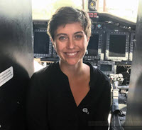 Vanessa inside a helicopter at a heliport in Cut Off, LA, where offshore oil workers commute to and from work. (Provided by Vanessa Parks)