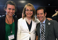 Vanessa (left) with Ramchand and Congresswoman Gabby Giffords (center). (Photo by Rajeev Ramchand)