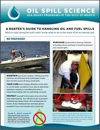 Brochure for boater's on oil and fuel spills.