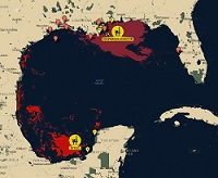 A map of the Gulf of Mexico that shows the Deepwater Horizon and Ixtoc spills. Image provided by C-IMAGE