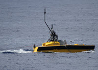 An autonomous surface vehicle (ASV C-Worker 6) conducts passive acoustic monitoring in the northern Gulf of Mexico, summer 2017. Photo credit: Chris Pierpoint, LADC-GEMM consortium