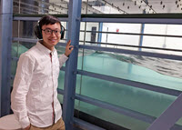 Xinzhi conducts his research in John Hopkins University's wind tunnel and wave tank laboratory. (Provided by Xinzhi Xue)