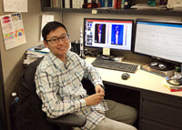Xinzhi analyses data from his plume experiments in his office at Johns Hopkins University. (Provided by Xinzhi Xue)