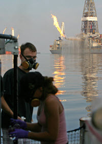 Scientific responders from the University of California Santa Barbara and the Texas A&M University collect samples near the Deepwater Horizon site. Photo by David L. Valentine, UC Santa Barbara.