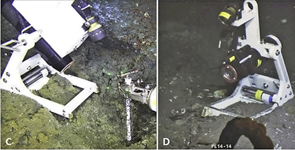 Researchers positioned a newly-designed high-definition video camera in front of natural hydrocarbon vents and recorded bubble behavior at two GC600 seeps (C) 2-day deployment and (D), 26-day deployment (Figure 2 in publication, used with permission)