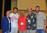 A reunion of the Montagna meiofauna lab. (L-R) Melissa, Wonchoel Lee, Hanan Mitwally, Paul Montagna, and Jeff Baguley take a group photo after Melissa won a student presentation award at the International Meiofauna Conference 2014. Woncheol was a postdoc, and Jeff and Hanan were Ph.D. students with Paul Montagna. (Provided by Melissa Rohal)