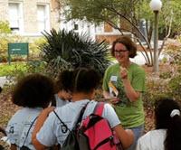Dr. Van Bael talks with students during one of her summer workshops. Photo Credit: Sunshine Van Bael